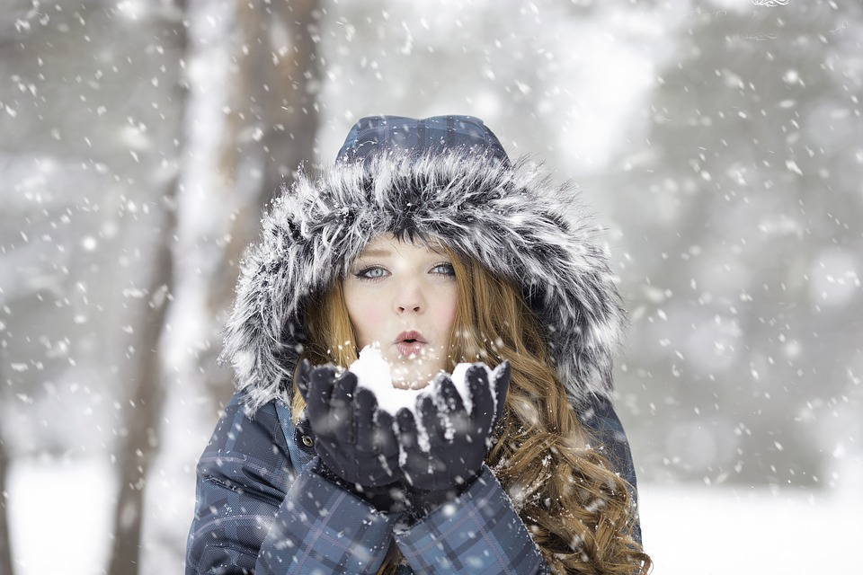 Girl in cold winter weather